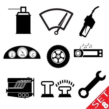 maschinenteile: Auto Teil icon set 8 Illustration