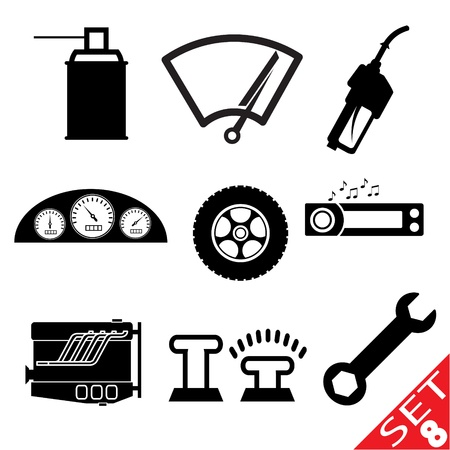 automotive repair: Car part icon set 8  Illustration