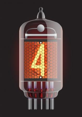 cijfer vier: Nixie buis indicator De nummer vier van retro, transparantie gegarandeerd Vector illustratie