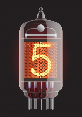 clock radio: Nixie tube indicator  The number five of retro, Transparency guaranteed  Vector illustration  Illustration