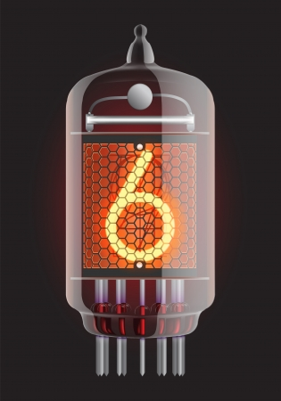 cathode: Nixie tube indicator  The number six of retro, Transparency guaranteed  Vector illustration