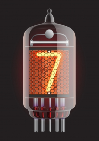 red tube: Indicador de tubo Nixie El número siete de la ilustración retro, Transparencia Vector garantizada