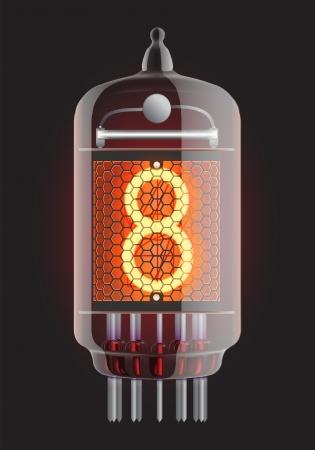 iluminacion led: Indicador de tubo Nixie El n�mero ocho de la ilustraci�n retro, Transparencia Vector garantizada