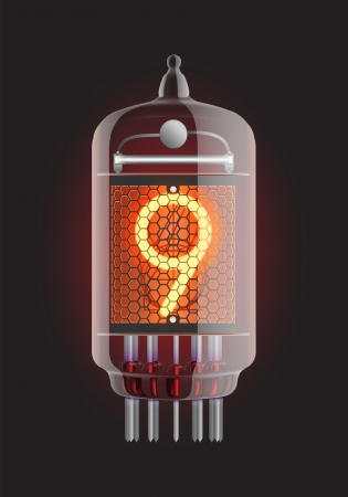 Nixie tube indicator  The number nine of retro, Transparency guaranteed  Vector illustration