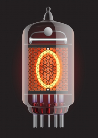 Nixie tube indicator  The number zero of retro, Transparency guaranteed  Vector illustration