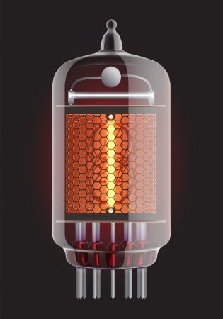 red tube: Indicador de tubo Nixie El número uno de la ilustración retro, Transparencia Vector garantizada