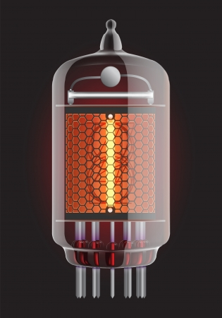 Nixie tube indicator  The number one of retro, Transparency guaranteed  Vector illustration  Illustration