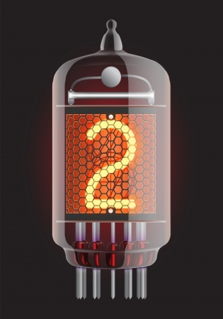 iluminacion led: Indicador de tubo Nixie El n�mero dos de la ilustraci�n retro, Transparencia Vector garantizada