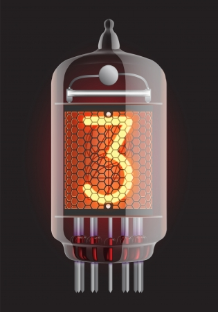 Nixie tube indicator  The number three of retro, Transparency guaranteed  Vector illustration