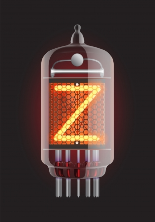 Nixie tube indicator  Letter  Z  from retro, Transparency guaranteed  Vector illustration  Vector