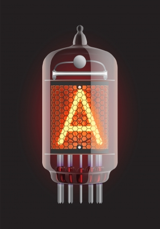 Nixie tube indicator  Letter  A  from retro, Transparency guaranteed  Vector illustration  Illustration