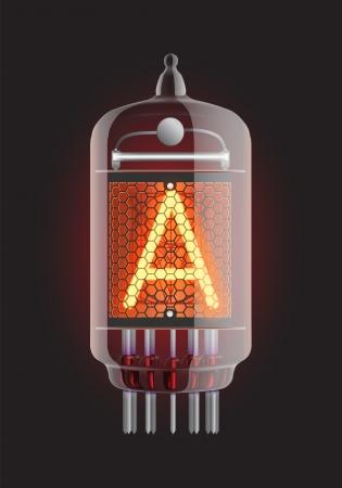 clock radio: Nixie tube indicator  Letter  A  from retro, Transparency guaranteed  Vector illustration  Illustration