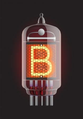 iluminacion led: Indicador de Nixie tubo de la letra B de la retro, ilustraci�n vectorial Transparencia garantizada Vectores