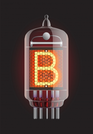Nixie tube indicator  Letter  B  from retro, Transparency guaranteed  Vector illustration  Vector
