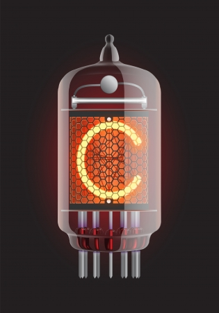 iluminacion led: Indicador de Nixie tubo de Letra C de la ilustraci�n retro, Transparencia Vector garantizada Vectores