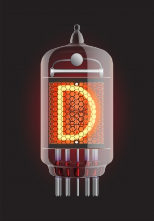 Nixie tube indicator  Letter  D  from retro, Transparency guaranteed  Vector illustration  Stock Vector - 13278185