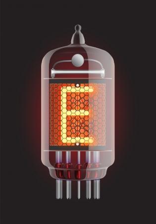 Nixie tube indicator  Letter  E  from retro, Transparency guaranteed  Vector illustration  Illustration