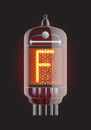 Nixie tube indicator  Letter  F  from retro, Transparency guaranteed  Vector illustration  Vector