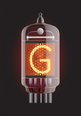 Nixie tube indicator  Letter  G  from retro, Transparency guaranteed  Vector illustration  Stock Vector - 13278190