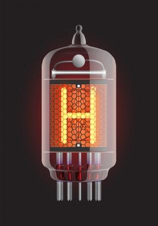 iluminacion led: Nixie tubo indicador Letra H de retro, ilustraci�n vectorial Transparencia garantizada