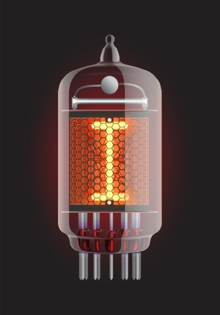 Nixie tube indicator  Letter  I  from retro, Transparency guaranteed  Vector illustration  Vector