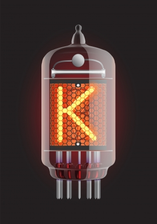 letter k: Nixie tube indicator  Letter  K  from retro, Transparency guaranteed  Vector illustration