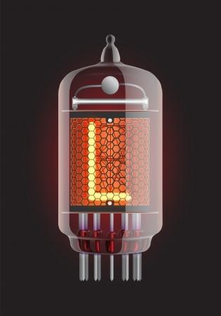 iluminacion led: Indicador de tubo de Nixie Letra L de retro, ilustraci�n vectorial Transparencia garantizada Vectores