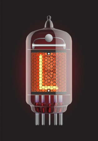 Nixie tube indicator  Letter  L  from retro, Transparency guaranteed  Vector illustration  Vector