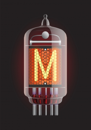 Nixie tube indicator  Letter  M  from retro, Transparency guaranteed  Vector illustration