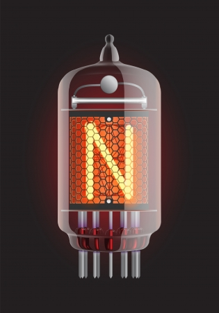 cathode: Nixie tube indicator  Letter  N  from retro, Transparency guaranteed  Vector illustration