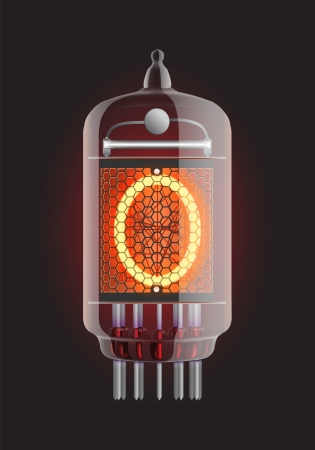cathode: Nixie tube indicator  Letter  O  from retro, Transparency guaranteed  Vector illustration  Illustration