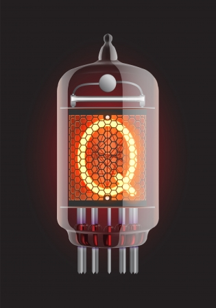 cathode: Nixie tube indicator  Letter  Q  from retro, Transparency guaranteed  Vector illustration  Illustration