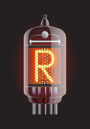 Nixie tube indicator  Letter  R  from retro, Transparency guaranteed  Vector illustration  Illustration