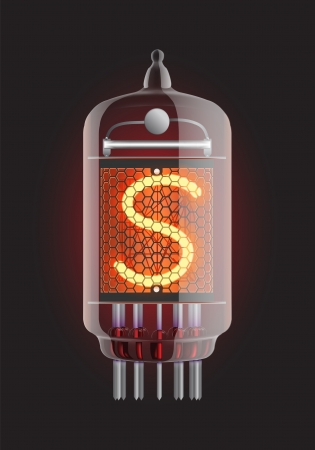 Nixie tube indicator  Letter  S  from retro, Transparency guaranteed  Vector illustration  Vector