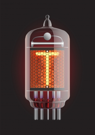 Nixie tube indicator  Letter  T  from retro, Transparency guaranteed  Vector illustration  Vector