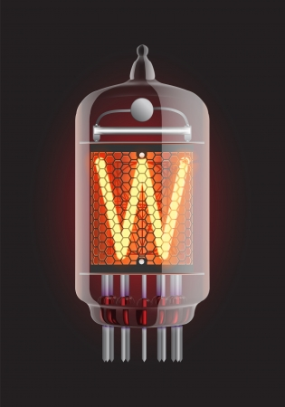 Nixie tube indicator  Letter  W  from retro, Transparency guaranteed  Vector illustration  Vector