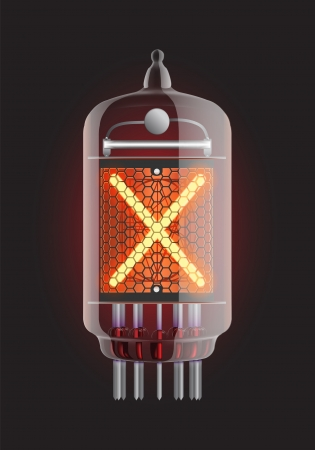 cathode: Nixie tube indicator  Letter  X  from retro, Transparency guaranteed  Vector illustration  Illustration