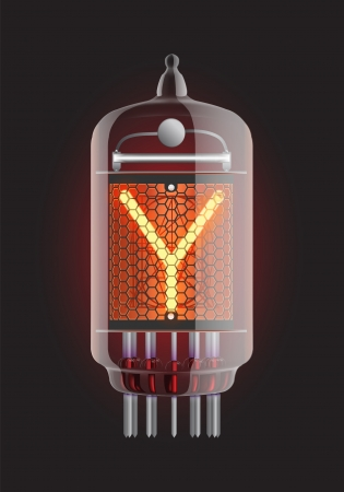 Nixie tube indicator  Letter  Y  from retro, Transparency guaranteed  Vector illustration  Vector