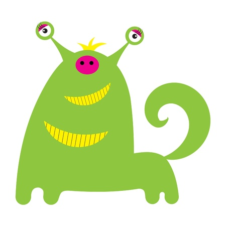 Cute little monster or alien is isolated on a white background  illustration  Vector