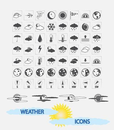 昼と夜の天気アイコン予測、web 用と印刷アプリケーション ベクトル イラスト  イラスト・ベクター素材