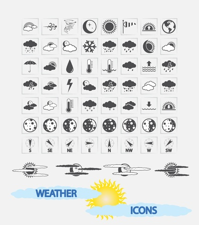 Weather Icons for day and night forecasting, for web and print applications  Vector illustration