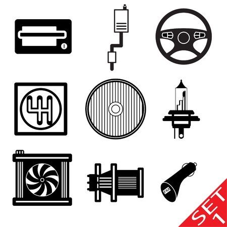 metal light bulb icon: Car icon parts and accessories  Vector Illustration