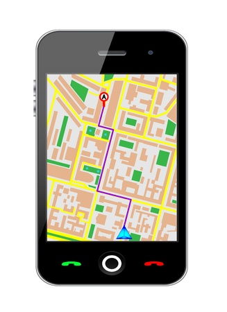 Touch screen cellphone gps  Vector Illustration Stock Illustration - 16785487