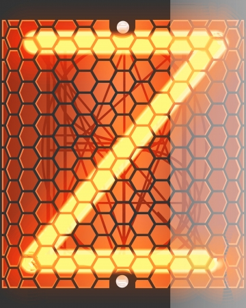 Nixie tube indicator  Letter  Z  from retro, Transparency guaranteed   photo