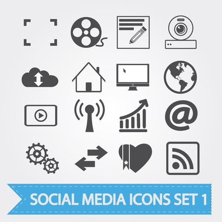 global settings: Social media related  icons for your design or application