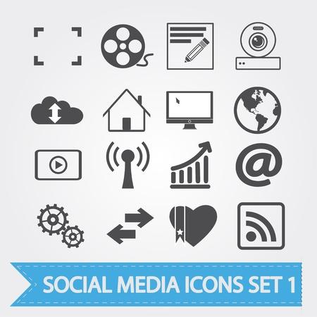 Social Media verbundene Symbole für Ihr Design oder Anwendung Standard-Bild - 15205313