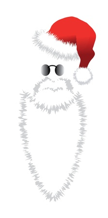 Red Santa Claus Hat, beard and glasses  illustration isolated on white  background Stock Vector - 15205299