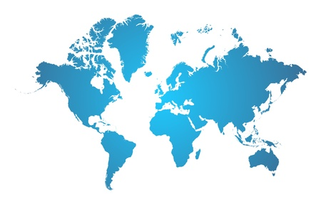 World Map Blue   Illustration