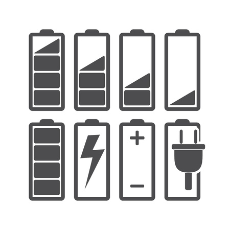 Set of battery level indicators  Illustration