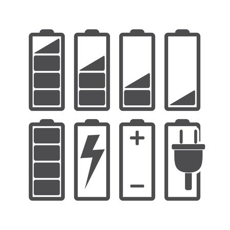 baterii: Zestaw wskaźników poziomu baterii Ilustracja